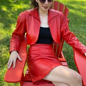 Vintage 90s Erez Red Leather Women's Suit